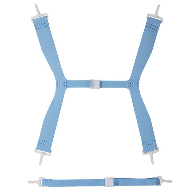Blue plastic shoulder straps
